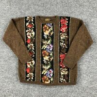 Vintage 90s Womens Wool Knit Sweater Eddie Bauer Oversized Small Striped Flowers