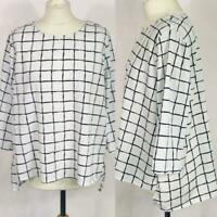 New M&S IVORY Checked 3/4 Sleeve Shell Top - Size 16 to 24