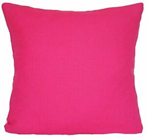 Hot Pink Cushion Cover Fabric Plain Linen Square 16""