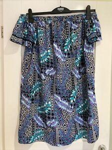 Ladies Mutli Coloured Pattern Bardot Dress Size 20 New Without Tags