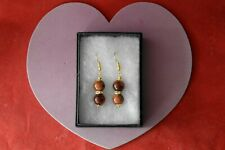 Beautiful Gold Plated Earrings With Sunstone 7 Gr. 3 Cm. Long + Hooks In Box