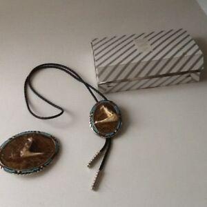 "Western Hand CraftedDiamond Back Rattlesnake Belt Buckle & Necktie""NEVER WORN """