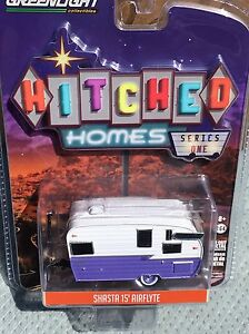 Greenlight  Hitched Homes  15' Shasta Airflyte   Camper.   Purple & White