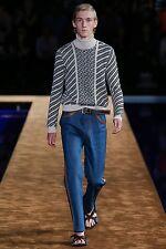 PRADA S/S 2015 RUNWAY Unisex Navy Denim Brown Leather Trim Jeans Pants NWT