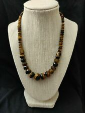 """Jay King Graduated Tiger's Eye Faceted Bead 18"""" Sterling Silver Necklace"""