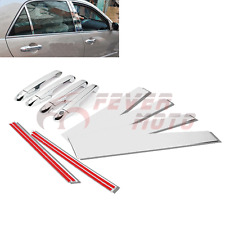 Car Chrome Side Door Handle Covers+Steel Pillar Post For Honda Accord 2003-07 FM