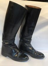"The Windsor Black Leather Tall Riding Boots Size 7 1/2,18"" High,1"" Heels England"