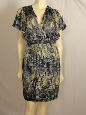 Jax Empire Waist Dolman knee length multi-colored green dress size 6