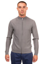 RRP €295 EMPORIO ARMANI Wool Cardigan Size S Grey Full Zip Stand-Up Collar