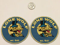 """(2) LONE WOLF  Embroidered Iron On  PATCHES  Rat FINK  Hot Rod, Racing biker  3"""""""