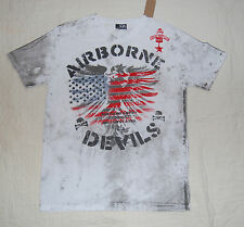 MENS Tee Shirt AIRBORNE DEVILS Eagle Skull Pilot S 34-36 FLAG USA White Gray