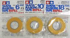 Tamiya Masking Tape 6mm - 10mm - 18mm REFILLS 3 Rolls 87033-87034-87035 REFILLS