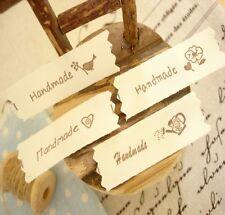 "Lovely ""HANDMADE"" Bird Heart Flower Sewing 100% Cotton Fabric Tape Labels"