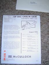 McCulloch sp 105 Parts list