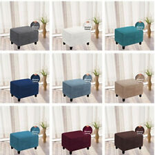 Stretch Ottoman Cover Footstool Slip Cover Square Pouf Slipcover Rectangle 2Size