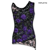 SPIRAL DIRECT Ladies Black Goth WATCHERS Lace Vest/Top Cat Rose All Sizes