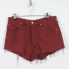 Womens Levis 501 High Waisted Denim Shorts in Red W31 UK 14 Vintage Hot Pants