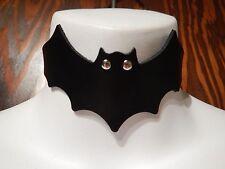 BLACK FAUX LEATHER BAT CHOKER Vampire batman batgirl witch halloween cosplay 8Z
