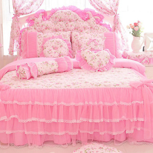 Bedding set home textile lace bow ruffled floral print quilt 100% cotton 2021