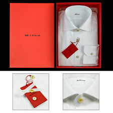 Men's KITON Solid White Woven Cotton Spread Collar Dress Shirt 17 XL 43 NIB $750