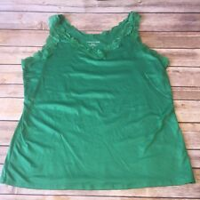 Coldwater Creek Women's Green Lace Tank  V-neck Shirt Top Undershirt Career Sz L