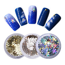 3X Holographic Gold Silver Snowflakes Nail Sequins Glitter Flakies 3D Stickers