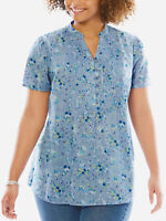 Big-Size Tunika Bluse Shirt Longshirt blau Gr. 48 50 52 54 56 58 60 62 64 66 Neu