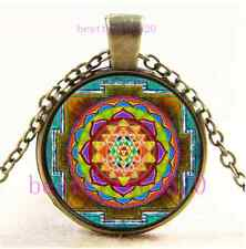 Vintage Sri Yantra Photo Cabochon Glass Bronze Chain Pendant Necklace