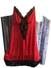 """Red And Black Chemise & G String Plus Size 48"""""""