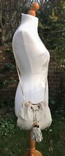 "TopShop Cream Yellow Leather Cross Body Bag - POUCH - Gold Metal H8.5"" x W9.5"""