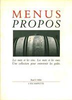 Livre menus propos les mets et les vins Baud & millet l'Escampette book