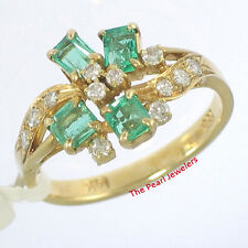 14k Solid Yellow Genuine & Natural Diamond, Baguette Emerald Cocktail Ring TPJ