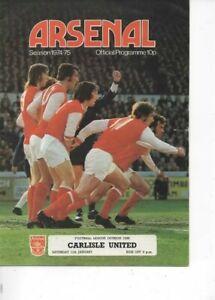 Arsenal v Carlisle United 1974/75 Division 1