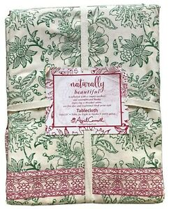 """April Cornell TABLECLOTH 60"""" x 120"""" Oblong FLORAL Green Red COTTON Jacobean NWT"""