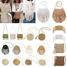 Women Bag Cotton Rope Woven Summer Beach Shoulder Bags Handbag Cross-body Tassel