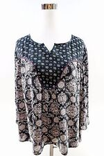 Style and Co. Petite 3/4 Bell Sleeve Trim Loose Blouse Sz PL multicolor