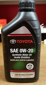 Genuine Toyota / Lexus 0w20 Motor Oil Qty 6 Quarts in a Case