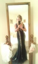 Evening/prom/red carpet,  black gown with train & silver detail, size 8, BNWT