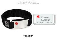 STROKE PATIENT Sport Medical Alert ID Bracelet. Free medical Emergency Card!