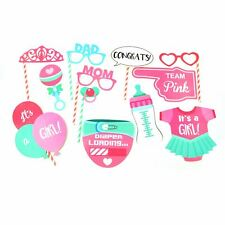 12 Team Pink Girl Baby Shower Selfie Photo Booth Props Party Accessories