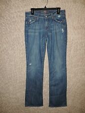 WOMENS-7-FOR-ALL-MANKIND-BOOTCUT-JEANS-SZ-30-LT-WASH-DISTRESSED-WHISKER-STRETCH