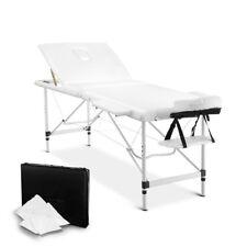 White 3 Fold Portable Aluminium Massage Table