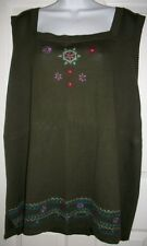 White Stag Women Green Floral Embroidery Sweater Tank Top Shirt Size 26W-28W New