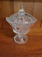 Clear Glass Pedestal Candy Dish Bowl With Lid