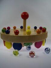 GOKI Holz-Murmelkarussell Kinder-Spiel 31 Murmeln NEU Holzspielzeug Murmelspiel