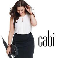 Cabi Women's Adore Blouse Keyhole White Sleeveless Tank Top Career Size Small