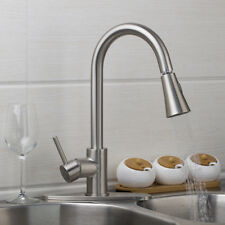 US Kitchen Sink Basin Swivel&Pull Out&Cover Plat Brushed Nickel Mixer Faucet Tap