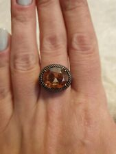 CAI 925 Silver And Yellow Stone Ring. Black. Size N. Caviar Patter Rare.