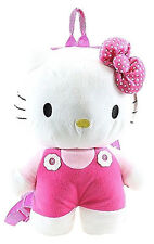 "Back Pack Hello Kitty Overalls Pink 15"" Plush"