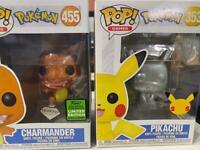 Funko POP! Pokémon Charmander#455 (Diamond) & PIKACHU#353 25th